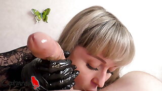 Black gloves bring my cock to orgasm