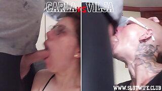 Head to Head Competition: Carla vs Vilja Sloppy Throat Fuck