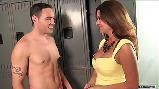 Raquel Devine is a busty brunette MILF that NEVER turns down the stud Romeo price.