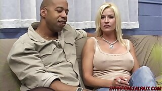 Busty MILF Lauren on her knees slobbering monster BBC