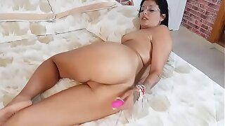 Using a toy to open up Rebeka's asshole before her anal drilling