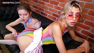 NEW RELEASE from Jean-Marie Corda: Two hot bi girls play with a glass toy and each other's shaved pussy!