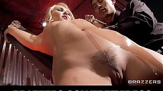 Bound and oiled up Aaliyah Love is slammed doggystyle
