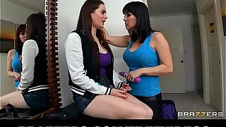 Curious brunette teen finds out that her step mom likes girls