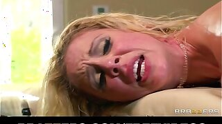 Busty blonde MILF gets an oily massage that turns into sweaty sex