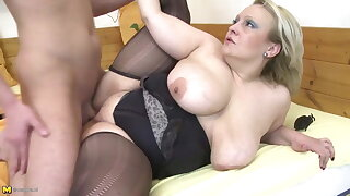 Mom with big saggy tits fucked by young not her son