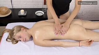 Lizka virgin pussy massage with a girl