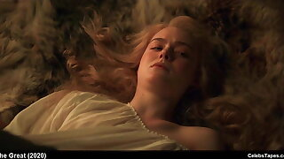 celebrity Elle Fanning nude and sex scenes from The Great