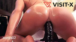 VISIT-X Riesen Dildo anal geritten und ordentlich abgeleckt