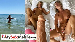 Marina Beaulieu, 59 years old, playing with dildo in south
