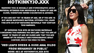 Hotkinkyjo red leafs dress & huge anal dildo in public