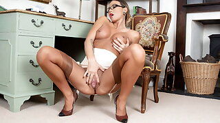 Hot Secretary Natalia Forrest fingers pussy in nylon garters