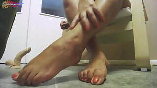 Girl Footjob Rubber Dick Dirty Feet - Foot Fetish