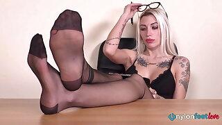 Blonde secretary nylon feet POV teasing and smoking