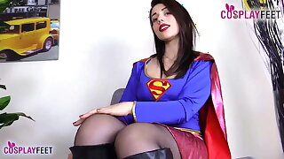 Supergirls in pantyhose take off boots and show feet
