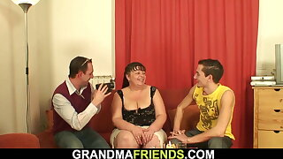 Plump old woman is used by two younger dudes