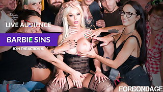 FORBONDAGE - Anal BDSM Group Fun With Busty MILF Barbie Sins