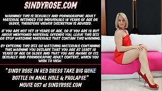 Sindy Rose in red dress take big wine bottle in anal hole