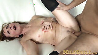 Mature lady in stockings Amy D riding big dick after blowjob