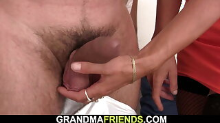 Old threesome with hairy small tits mature lady